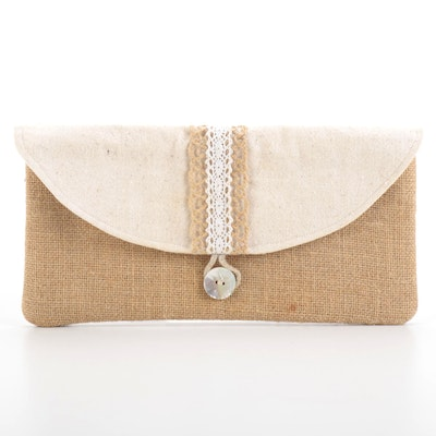 Envelope Clutch in Burlap and Canvas with Shell Button Closure