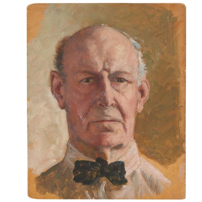 Oil Portrait of Man, Mid-20th Century