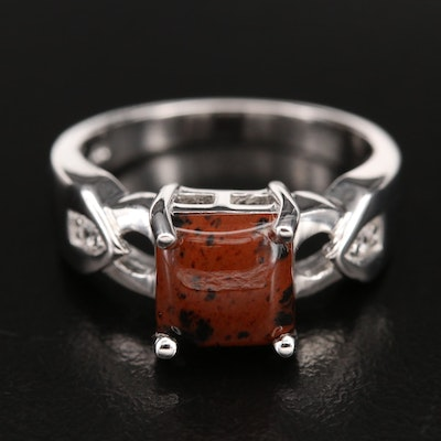 Sterling Mahogany Obsidian and Topaz Ring