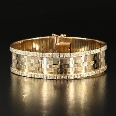 Italian 10K Textured Flat Omega Bracelet