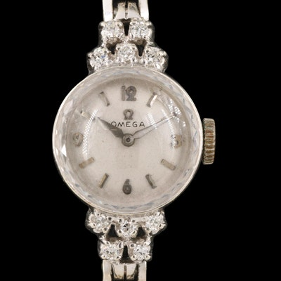 14K Omega Diamond Wristwatch, Circa 1956