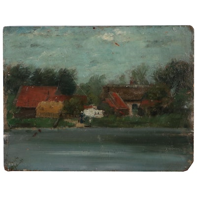 Landscape Oil Painting of Lakefront, Early 20th Century