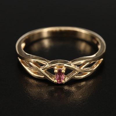 Sterling Garnet Solitaire Openwork Ring
