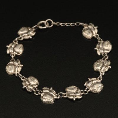 Vintage Sterling Reversible Rose and Saints Rosary Bracelet