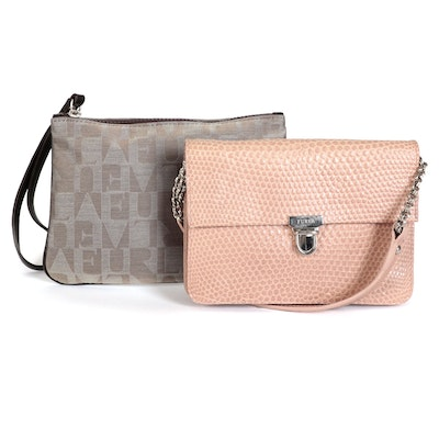 Furla Embossed Leather Flap Shoulder Bag and Zip Pouch with Wristlet