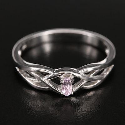 Sterling Kunzite Openwork Ring