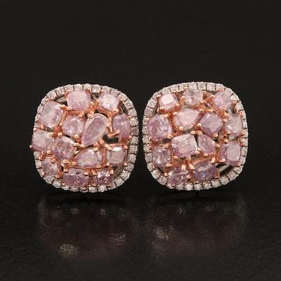 18K 3.80 CTW Diamond Earrings with GIA Report
