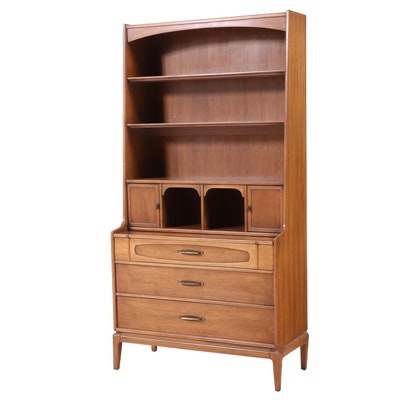 Mid Century Modern Walnut Secretary Bookcase