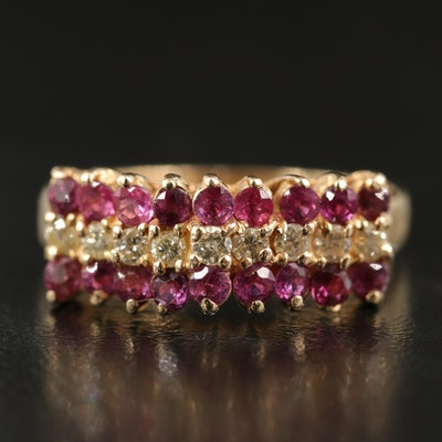 14K Diamond and Ruby Tiered Ring