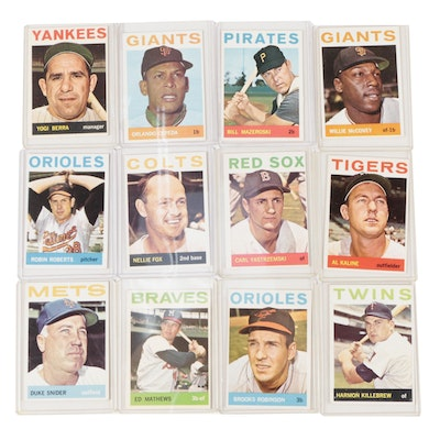 1964 Topps Hall of Fame Baseball Cards with Berra, Kaline, Killebrew, and Others