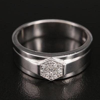 Sterling Zircon Hexagonal Cluster Ring