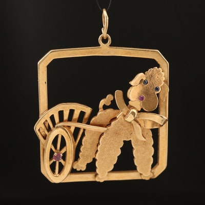 14K Sapphire and Ruby Dog and Cart Pendant