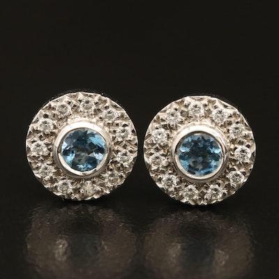 14K Aquamarine and Diamond Stud Earrings