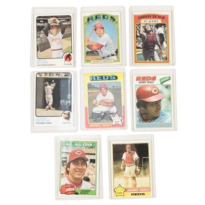 1970s Johnny Bench and Nolan Ryan Topps Baseball Cards