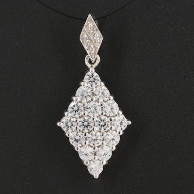 Sterling Silver Zircon Diamond Shaped Pendant