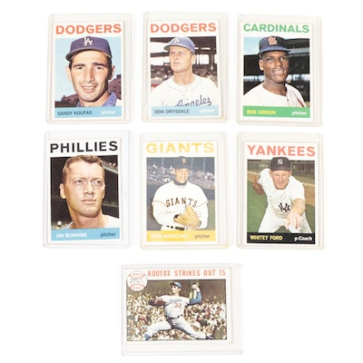 1964 Sandy Koufax, Bob Gibson, Whitey Ford, and Other Topps Baseball Cards