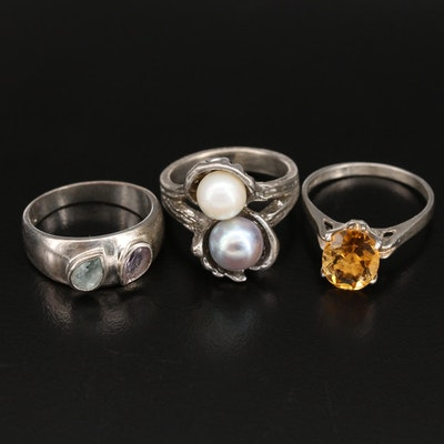 Sterling Ring Collection with Pearl, Citrine and Topaz
