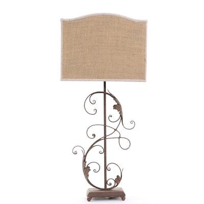 Rust Finish Cast Metal Table Lamp with Burlap Lamp Shade