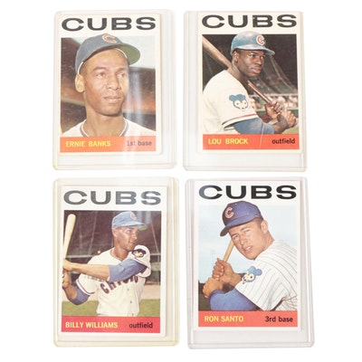 1964 Banks, Williams, Santo, and Brock Topps Chicago Cubs Baseball Cards