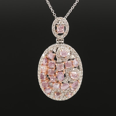 18K 2.93 CTW Diamond Oval Cluster Pendant Necklace with GIA Report