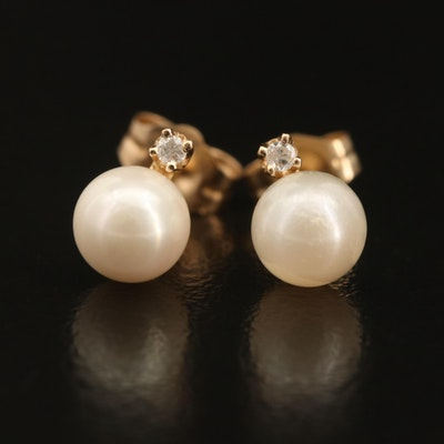 14K Pearl and Diamond Stud Earrings
