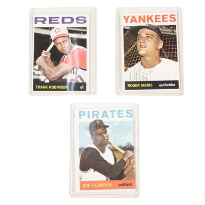 1964 Bob Clemente, Frank Robinson, and Roger Maris Topps Baseball Cards