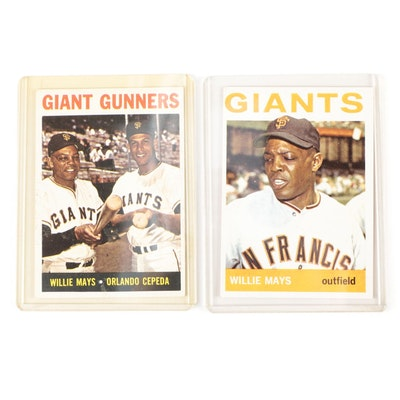 """1964 Willie Mays Topps #150 and """"Giants Gunners"""" #306 Baseball Cards"""
