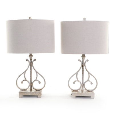 Pairing of Satin Scroll Metal Table Lamps with Shades