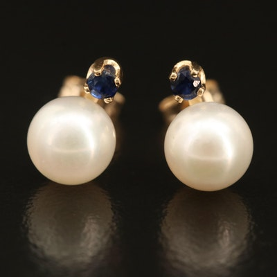 14K Pearl Stud Earrings with Sapphire Enhancers