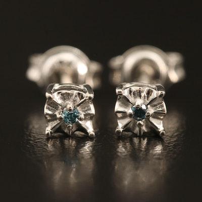 Sterling Diamond Illusion Set Stud Earrings
