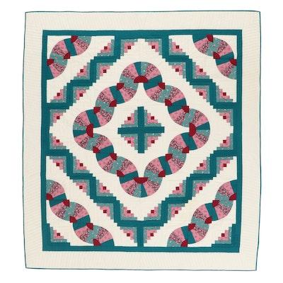 "Handmade ""Barn Raising"" Variation Pieced Quilt, Late 20th Century"
