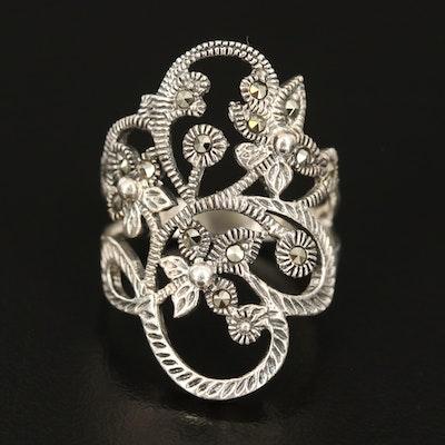 Sterling Silver Marcasite Openwork Flower Ring