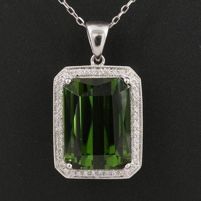 14K 10.50 CT Tourmaline and Diamond Pendant Necklace