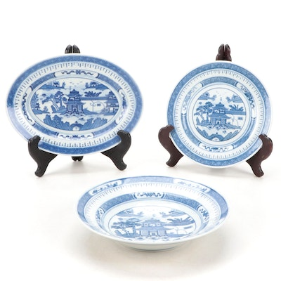Chinese Canton Blue and White Porcelain Dinnerware, Late 20th Century