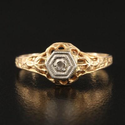 Art Deco 10K Openwork Diamond Accent Ring