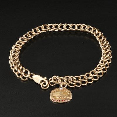 14K Double Curb Chain Charm Bracelet with 0.04 CT Diamond 'Trailblazer' Charm