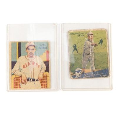 "1934 ""Dizzy"" Dean Goudey and 1935 Carl Hubbell Diamond Stars Baseball Cards"