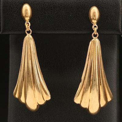 14K Italian Gold Fluted Drop Earrings