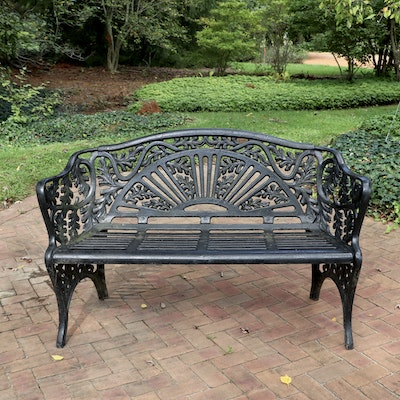 Acanthus Leaf and Fan Motif Cast Iron Patio Bench