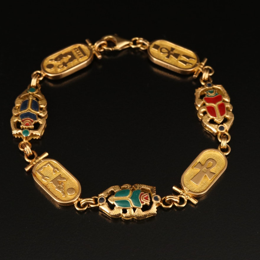 Egyptian 18K Enamel Cartouche and Scarab Bracelet