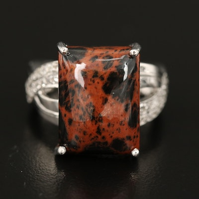 Sterling Silver Mahogany Obsidian and Topaz Ring
