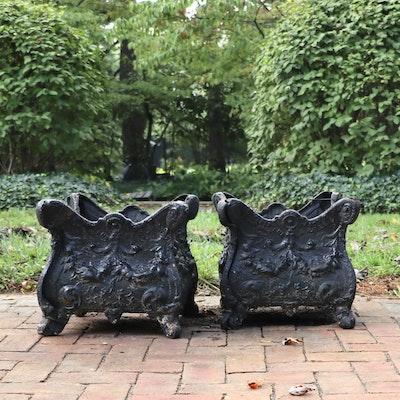 Victorian Style Cast Iron Square Planters, Antique
