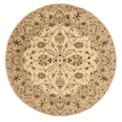 8' Round Hand-Knotted Floral Area Rug
