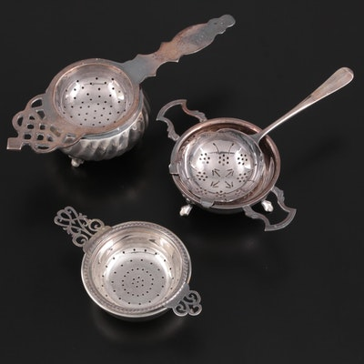 English Sterling Silver Tea Strainer and Drip Bowl with More Silver Plate
