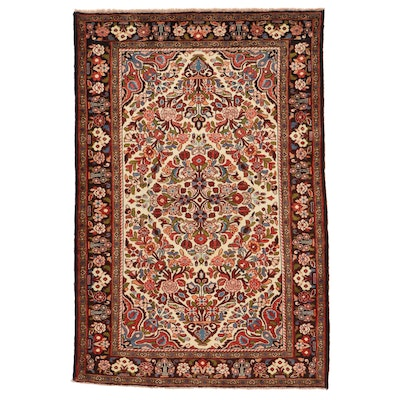 5' x 7'5 Hand-Knotted Persian Yazd Area Rug