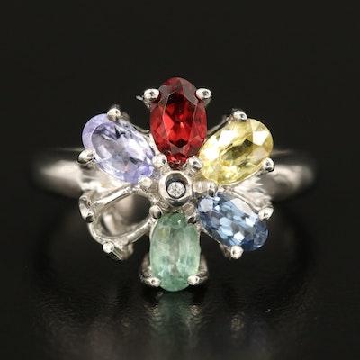 Sterling Silver Garnet, Tanzanite and Chrysoberyl Ring