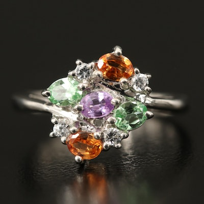 Sterling Silver Spessartite, Sapphire and Zircon Ring