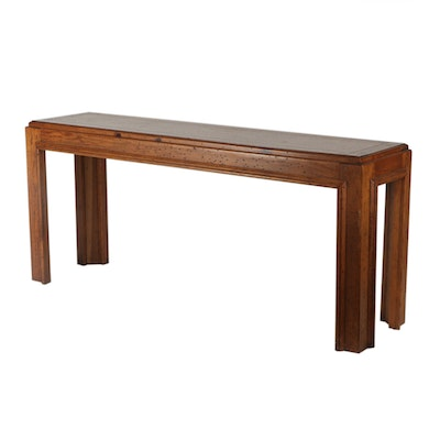 Modernist Parsons Style Distressed Pine Console Table