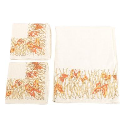 Emilio Pucci Farfalla Collection Butterfly Patterned Tablecloth and Napkins