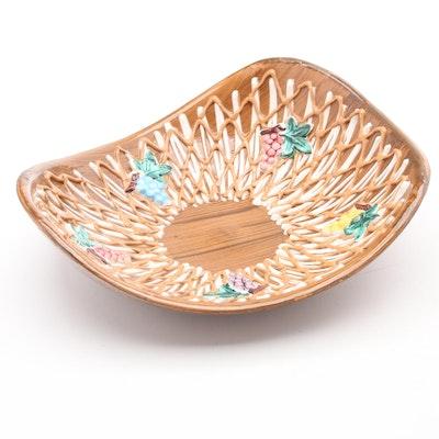 Italian Ceramic Slip Glazed Centerpiece Bowl with Grape Clusters